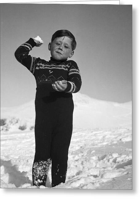Boy Throwing A Snowball Greeting Card by German School