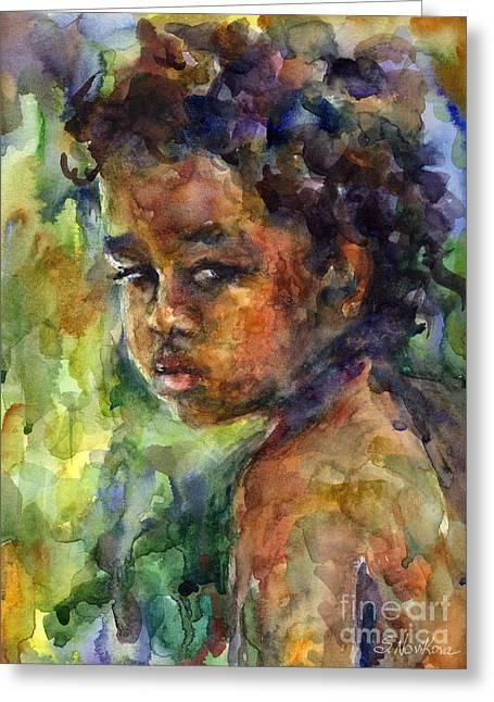 Watercolour Drawings Greeting Cards - Boy Watercolor Portrait Greeting Card by Svetlana Novikova