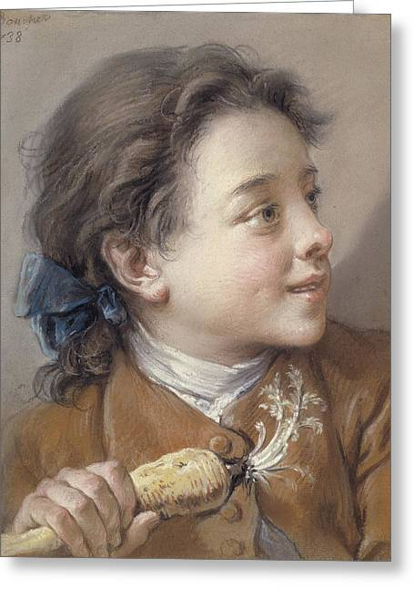 Boy With A Carrot, 1738 Greeting Card by Francois Boucher