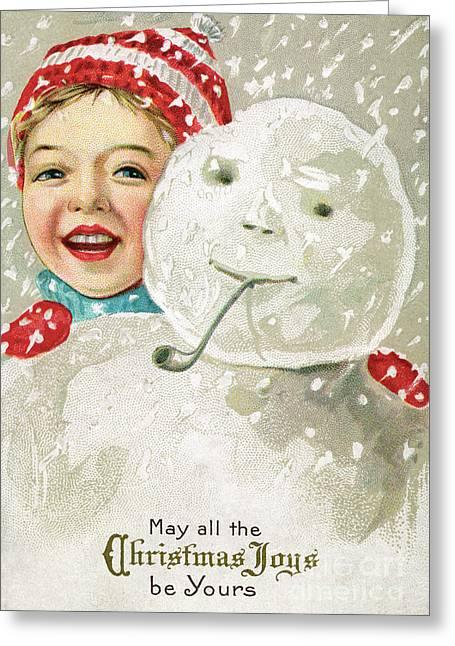 Boy With A Snowman Greeting Card by American School