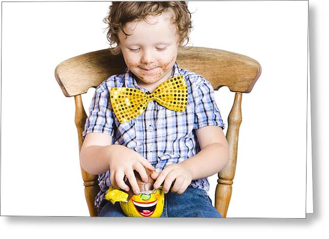 Youthful Photographs Greeting Cards - Boy with Easter egg Greeting Card by Ryan Jorgensen