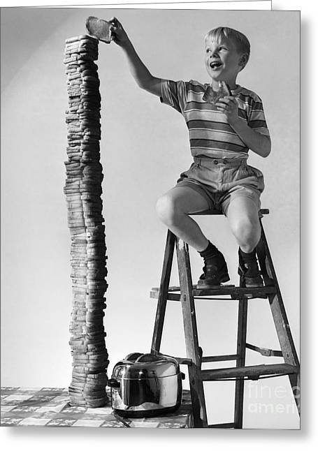 Boy With Huge Stack Of Toast, C.1950s Greeting Card by Debrocke/ClassicStock