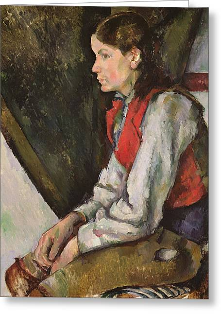 Boy With Red Waistcoat Greeting Card by Paul Cezanne