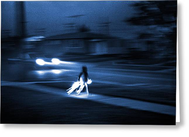 Celebration Art Print Greeting Cards - Boy with Sparklers Blue Toned Greeting Card by Donald  Erickson