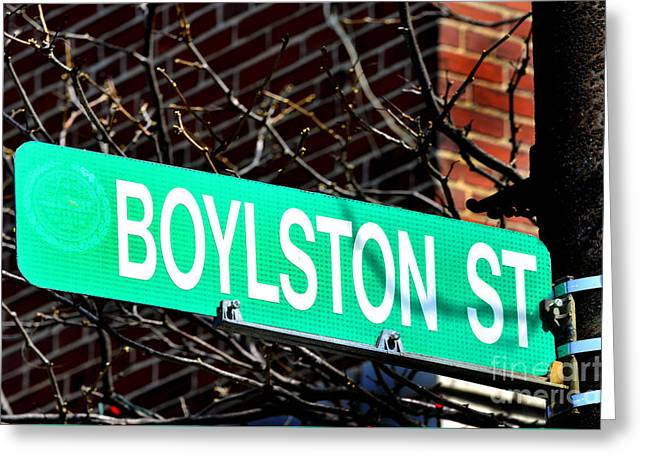 Footrace Greeting Cards - Boylston Street in Boston Site of Bombings Greeting Card by Lane Erickson