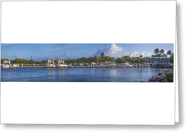 Boynton Beach Inlet Harbor Panorama Greeting Card by Debra and Dave Vanderlaan