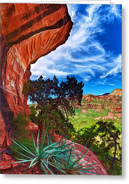 Colorful Cloud Formations Greeting Cards - Boynton Canyon Cliffs 1 Greeting Card by Bill Caldwell -        ABeautifulSky Photography
