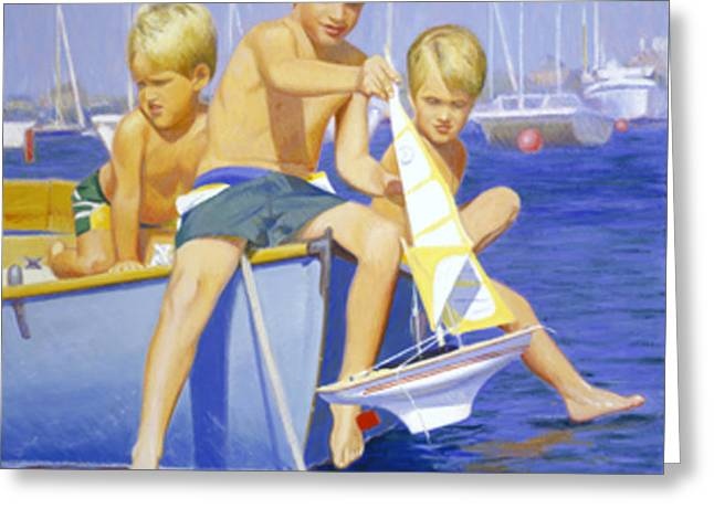 Toy Boat Greeting Cards - Boys Ahoy Greeting Card by Candace Lovely