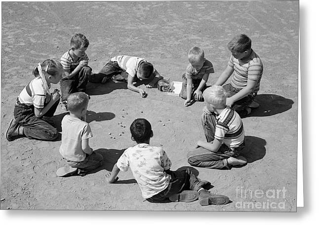 Boys And One Girl Shooting Marbles Greeting Card by D. Corson/ClassicStock
