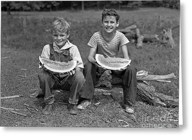 Boys Eating Watermelons, C.1940s Greeting Card by H. Armstrong Roberts/ClassicStock