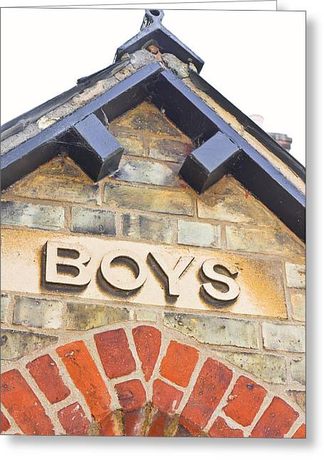 Boys' Entrance Greeting Card by Tom Gowanlock