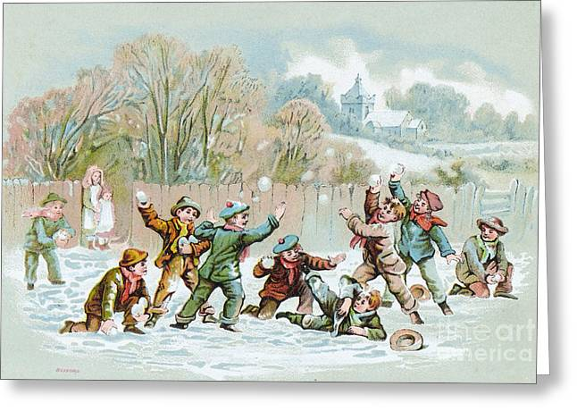 Boys Having Snowball Fight, C. 1890s Greeting Card by Wellcome Images