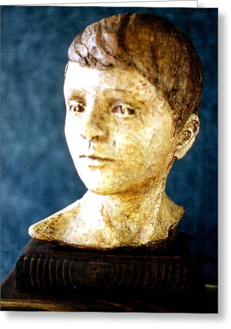 Realism Sculpture Sculptures Sculptures Greeting Cards - Boys Head Greeting Card by Sarah Biondo