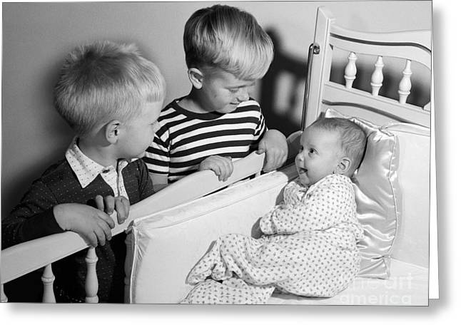 Boys Looking At Baby Sister, C.1950s Greeting Card by Debrocke/ClassicStock