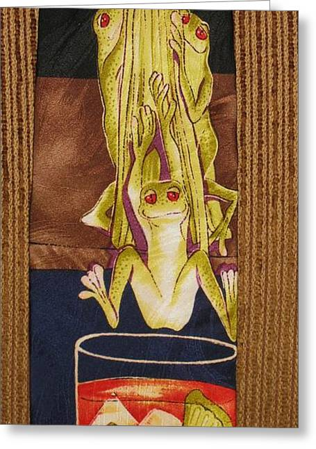 Amphibians Tapestries - Textiles Greeting Cards - Boys Night Out Greeting Card by David Kelly