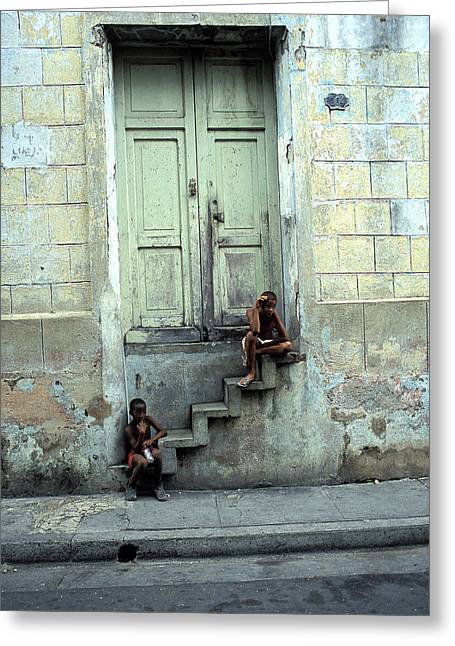 Santiago Cuba Greeting Cards - Boys On Stairs Greeting Card by Marcus Best