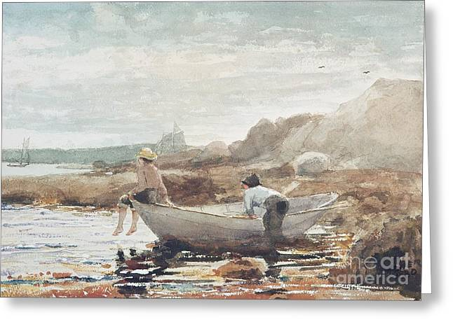 Ocean. Reflection Greeting Cards - Boys on the Beach Greeting Card by Winslow Homer