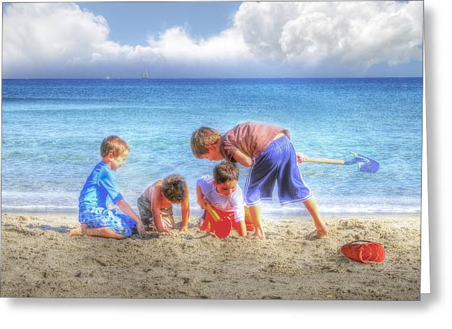 Ocean Landscape Greeting Cards - Boys Will be Boys Greeting Card by Debra and Dave Vanderlaan