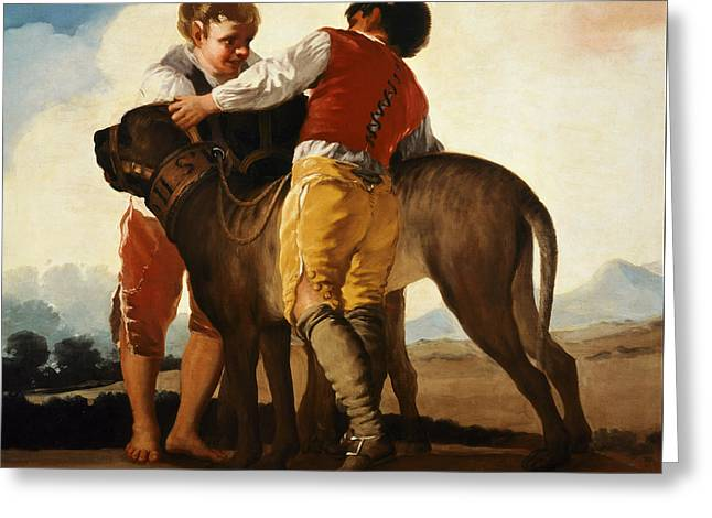 Child In Clouds Greeting Cards - Boys with Mastiff Greeting Card by Goya