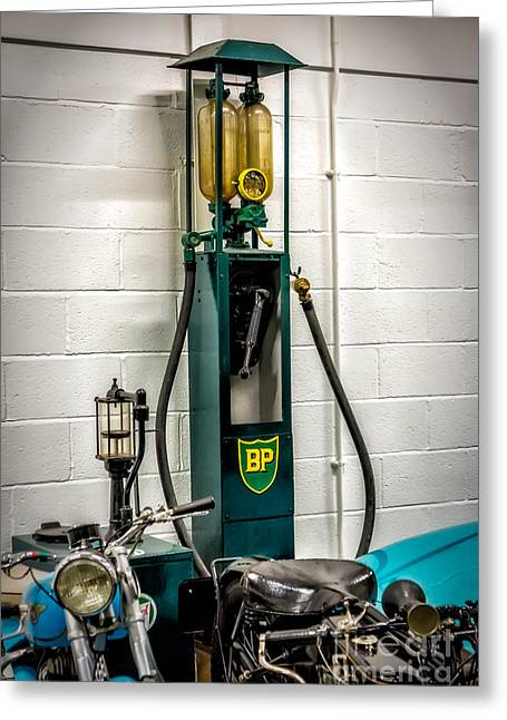 Horns Greeting Cards - BP Gas Pump Greeting Card by Adrian Evans