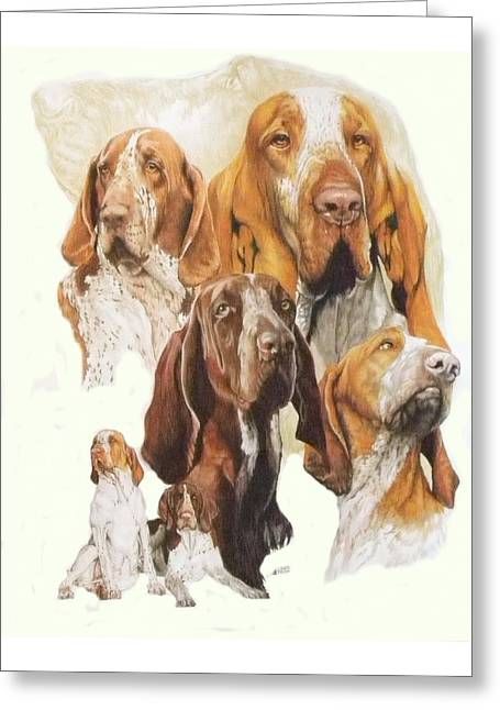 Mammal Mixed Media Greeting Cards - Bracco Italiano w/Ghost Greeting Card by Barbara Keith