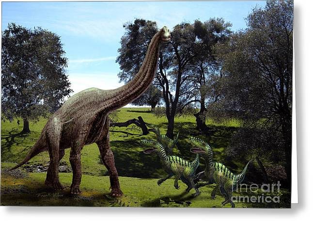 Dinosaurs Greeting Cards - Brachiosaurus Attacked by Velociraptors Greeting Card by Frank Wilson