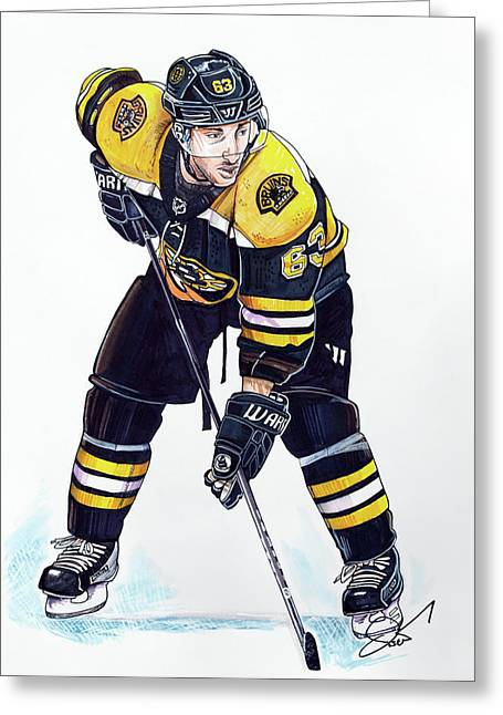 Nhl Hockey Drawings Greeting Cards - Brad Marchand Greeting Card by Dave Olsen