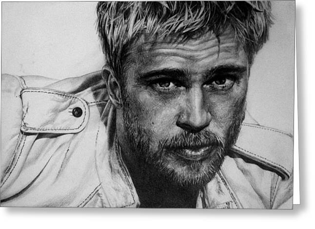 Real Life Greeting Cards - Brad Pitt Greeting Card by Jennifer Bryant