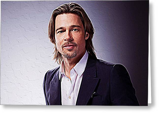 Inglourious Basterds Greeting Cards - Brad Pitt Greeting Card by Queso Espinosa
