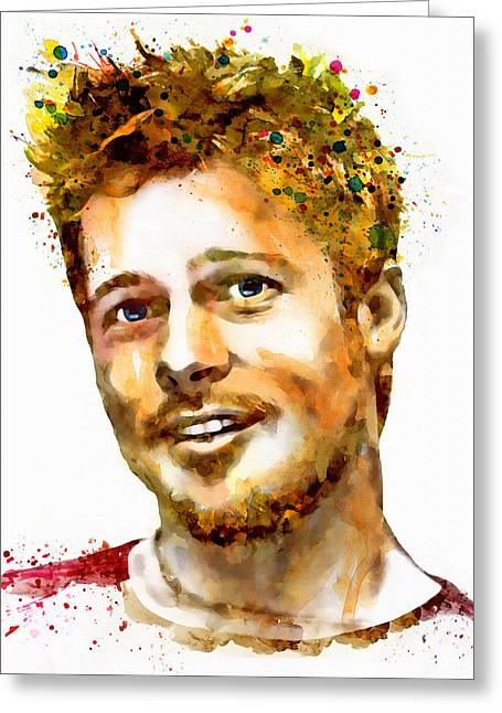Mustaches Digital Greeting Cards - Brad Pitt Watercolor Portrait Greeting Card by Marian Voicu