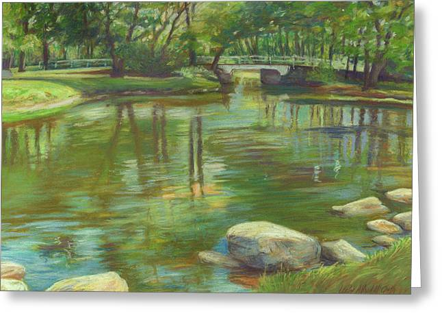 Tranquil Pastels Greeting Cards - Bradford MA College Pond Greeting Card by Leslie Alfred McGrath