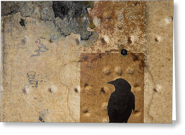 Crow Collage Greeting Cards - Braille Crow Greeting Card by Carol Leigh