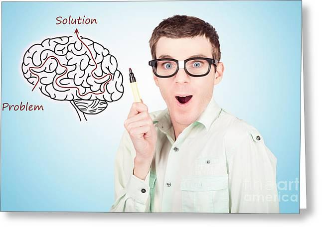 Neurosurgeon Greeting Cards - Brain businessman with creative idea illustration Greeting Card by Ryan Jorgensen