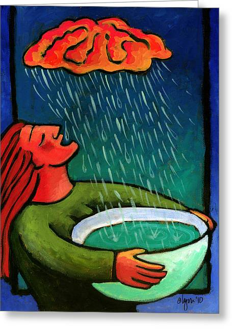 Plastic Drinking Water Bottles Greeting Cards - Brain Storm Painting 57 Greeting Card by Angela Treat Lyon