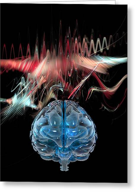 Brain Power Greeting Cards - Brain Wave, Conceptual Artwork Greeting Card by Laguna Design