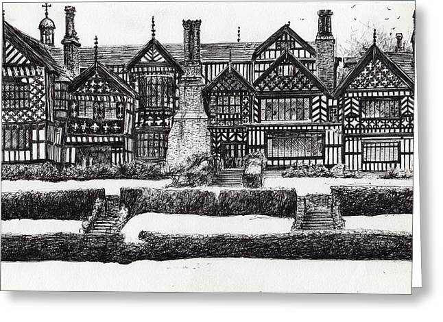 Bramall Hall Greeting Card by Vincent Alexander Booth