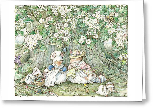 Brambly Hedge - Hawthorn Blossom And Babies Greeting Card by Brambly Hedge