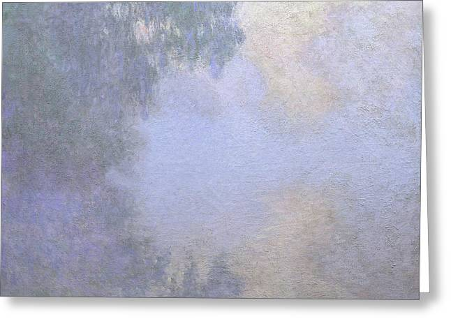 Branch Of The Seine Near Giverny  Mist Greeting Card by Claude Monet