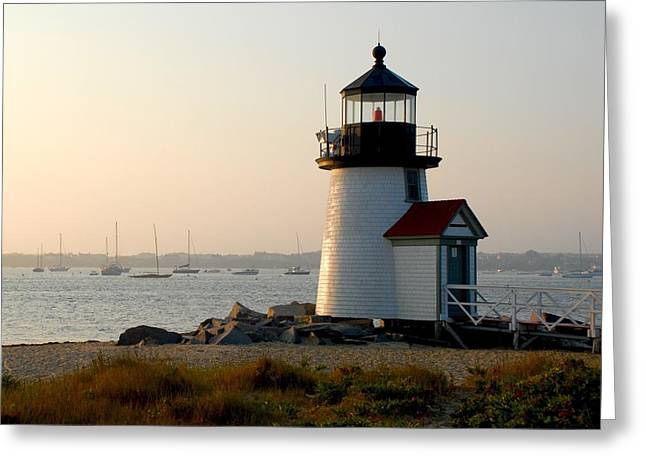New England Ocean Greeting Cards - Brand Point Lighthouse Greeting Card by Dan Whedon