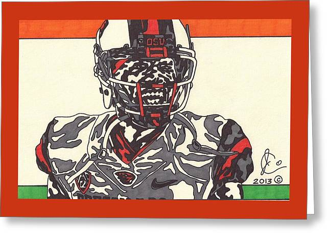 Beaver Drawings Greeting Cards - Brandin Cooks 2 Greeting Card by Jeremiah Colley