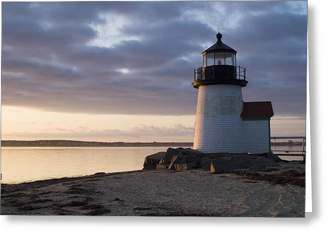New England Greeting Cards - Brant Point Light Number 1 Nantucket Greeting Card by Henry Krauzyk