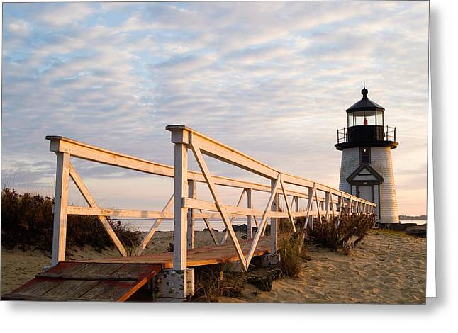 Brant Point Greeting Cards - Brant Point Lighthouse and Walkway - Nantucket Greeting Card by Henry Krauzyk
