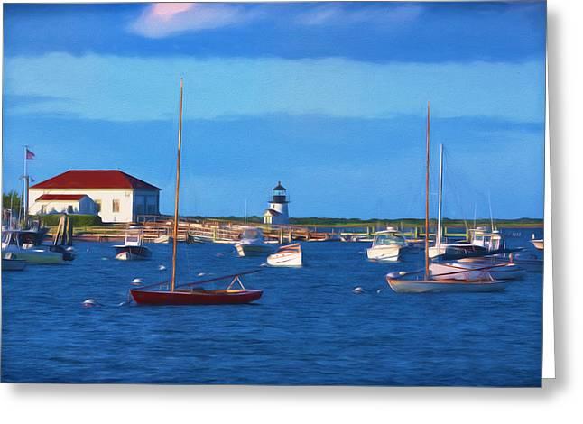 Brant Point Lighthouse Greeting Card by Kim Hojnacki