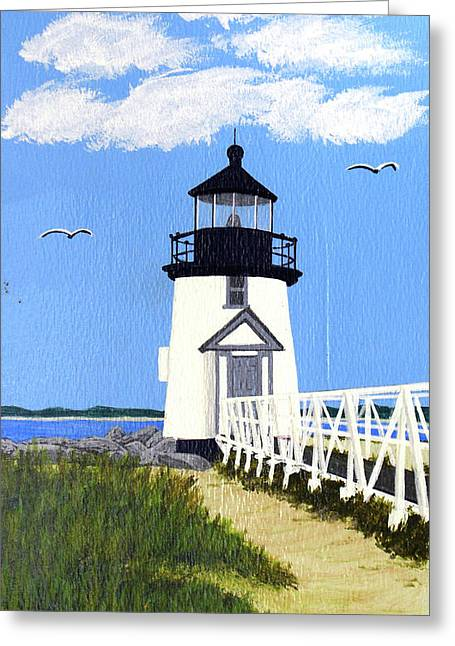 Brant Point Lighthouse Painting Greeting Card by Frederic Kohli