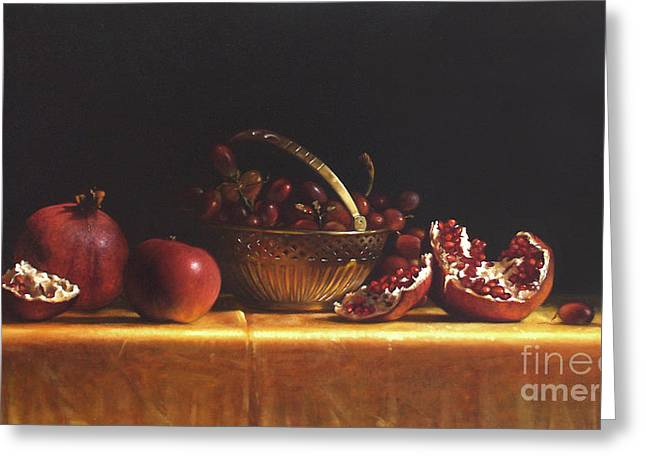 Pomegranate Greeting Cards - Brass Basket Greeting Card by Larry Preston