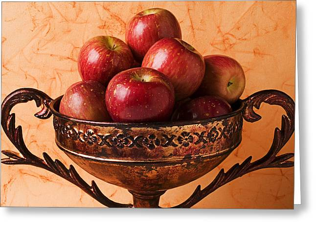Crisp Greeting Cards - Brass bowl with fuji apples Greeting Card by Garry Gay