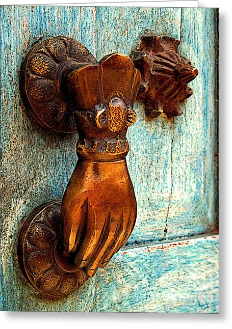 Portal Greeting Cards - Brass Hand on the Blue Door Greeting Card by Olden Mexico