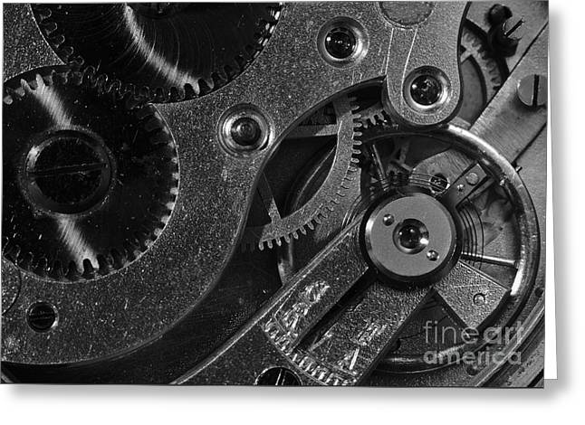 Mechanism Greeting Cards - Brass Hearted - Monochrome Greeting Card by Angelo DeVal