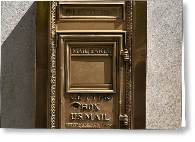 Brass Mail Box NYC Greeting Card by Robert Ullmann