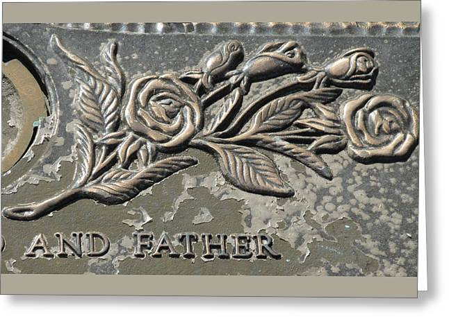 Brimfield Greeting Cards - Brass Rose And Father Greeting Card by M E Cieplinski